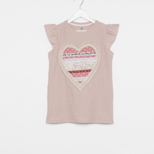 Remera de niña en rosa con corazón